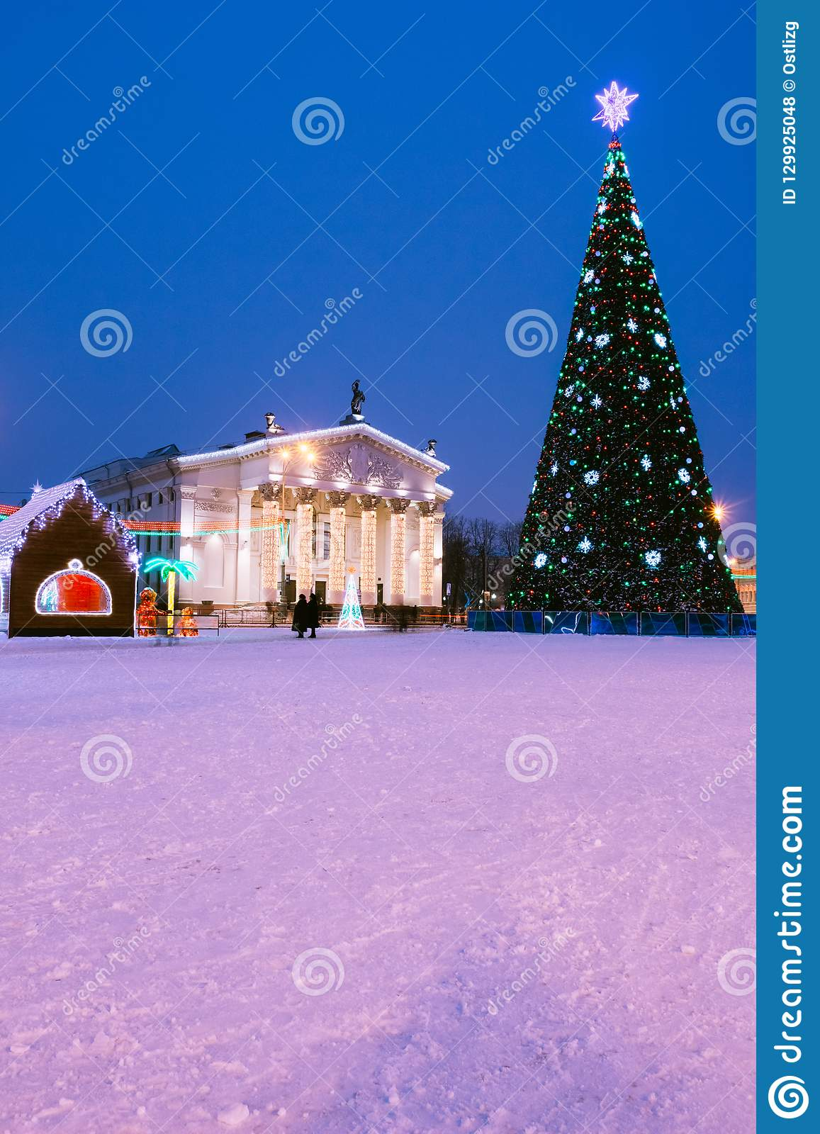 New Year`s illumination of the city with a Christmas tree and th