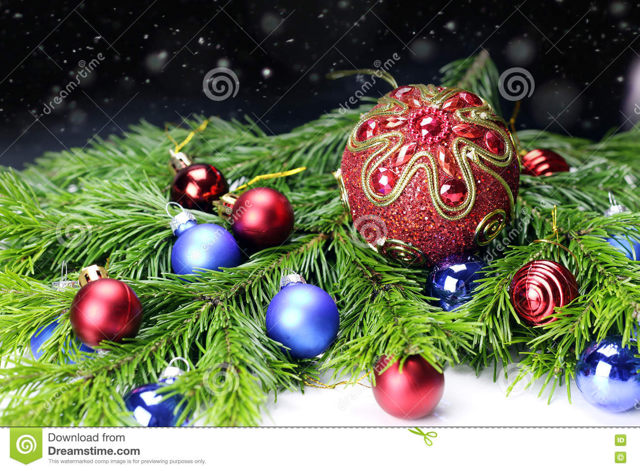 New Year Tree Toy Ball Background Stock Image - Image of present ...