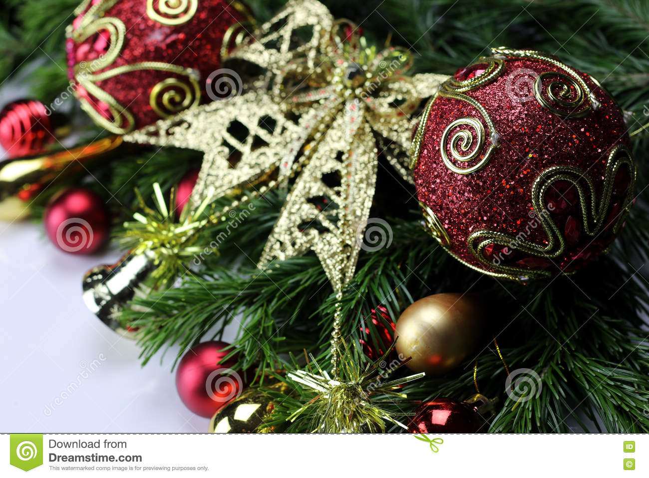 New Year Tree Toy Ball Background Stock Image - Image of card ...
