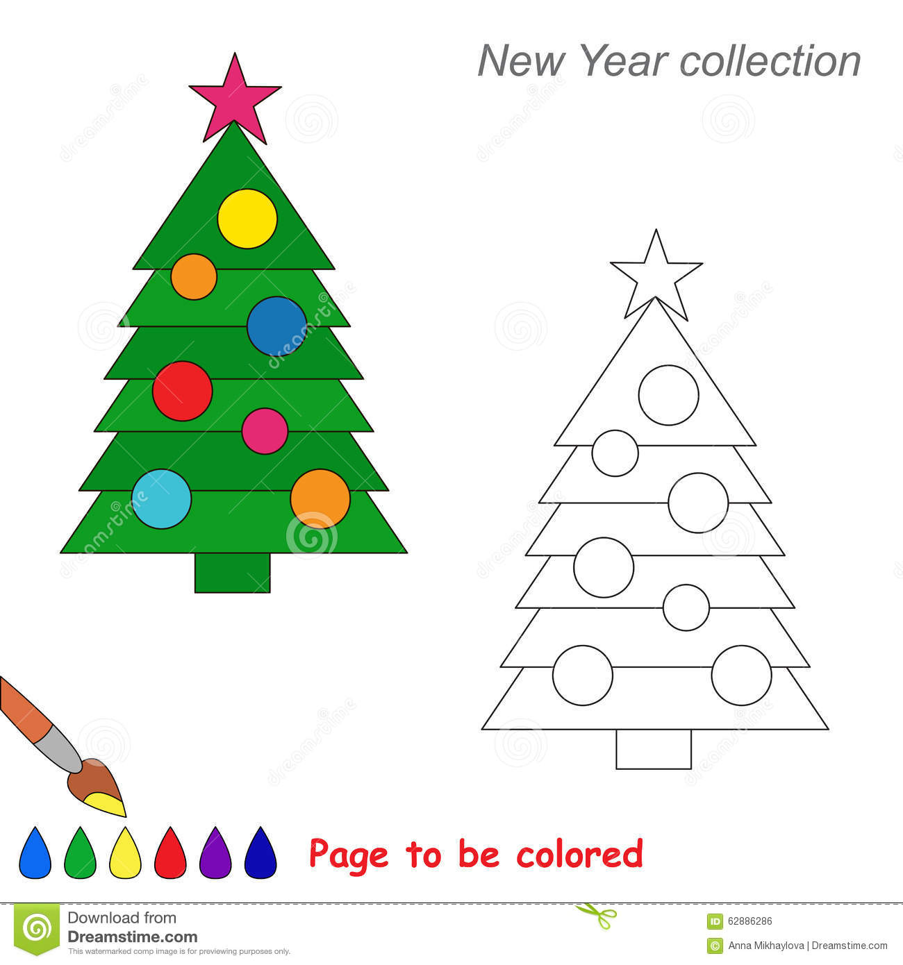 New Year Tree Vector Cartoon To Be Colored. Stock Vector ...