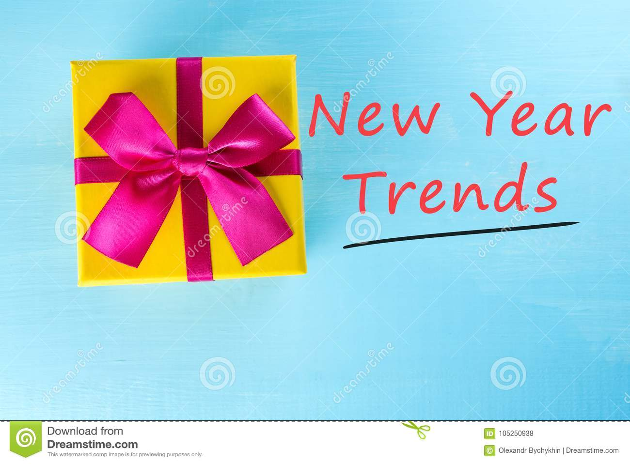 New Year Trends Yellow Gift Box Onblue Table As Natural Background Christmas Or New