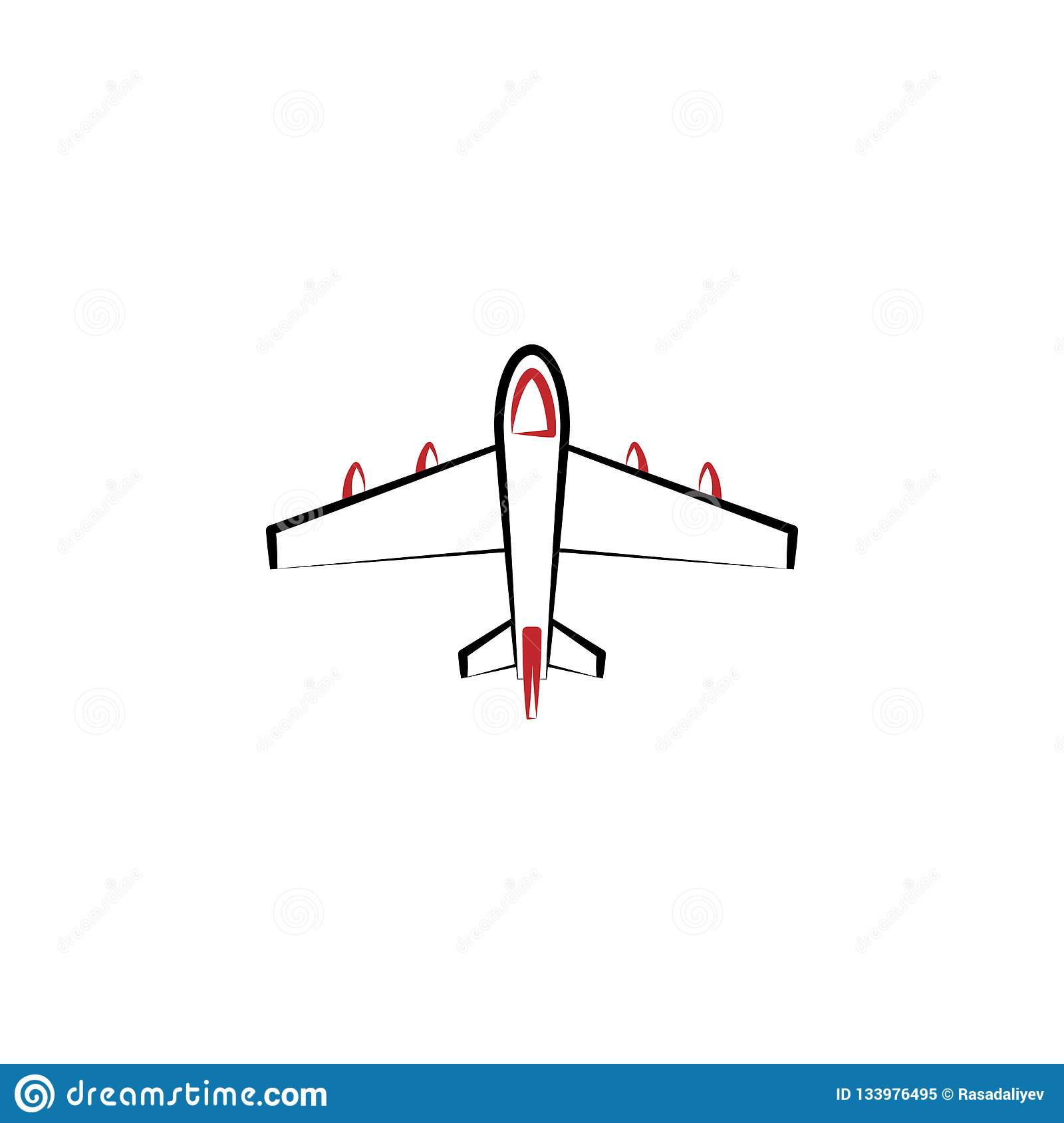 New year trip, air plane 2 colored line icon. Simple hand drawn color element illustration. air plane outline symbol design from