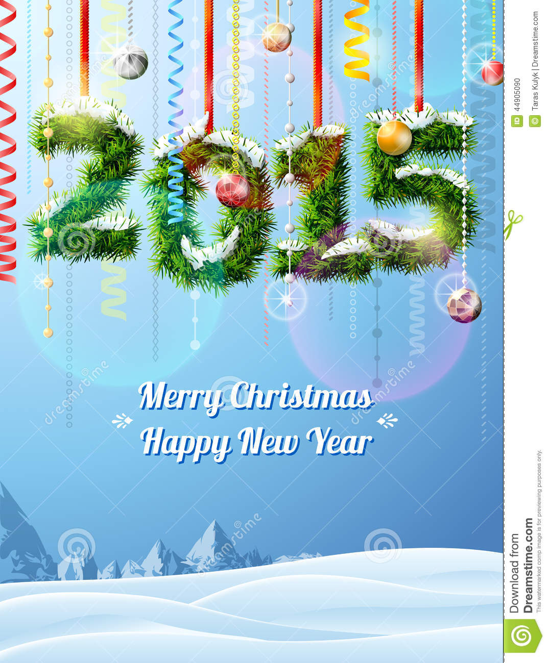 New Year 2015 Of Twigs Like Christmas Decoration Stock