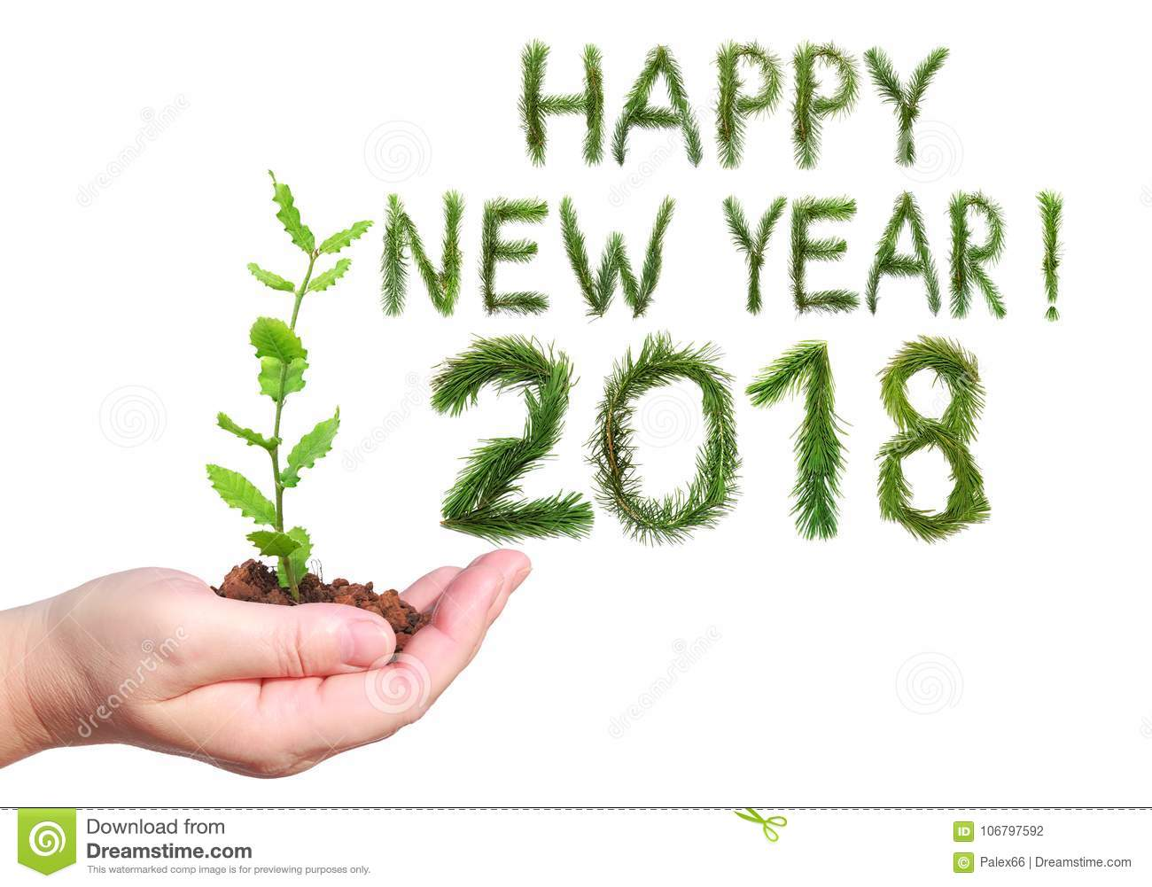 2018 New Year. Two Thousand Eighteen. Greeting Words Happy New Year ...