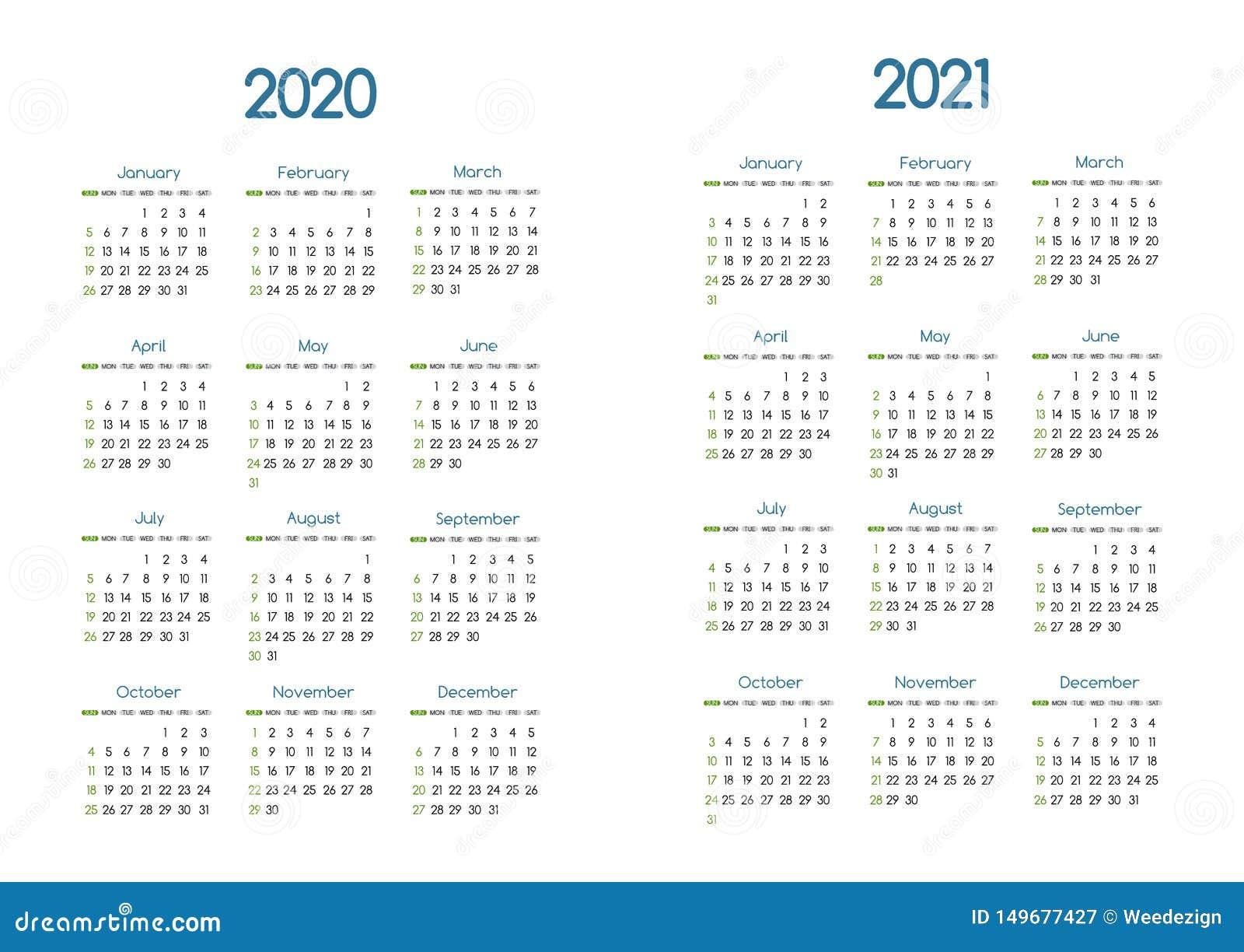 Calendar Year 2020.New Year 2020 And 2021 Vector Calendar Modern Simple Design With