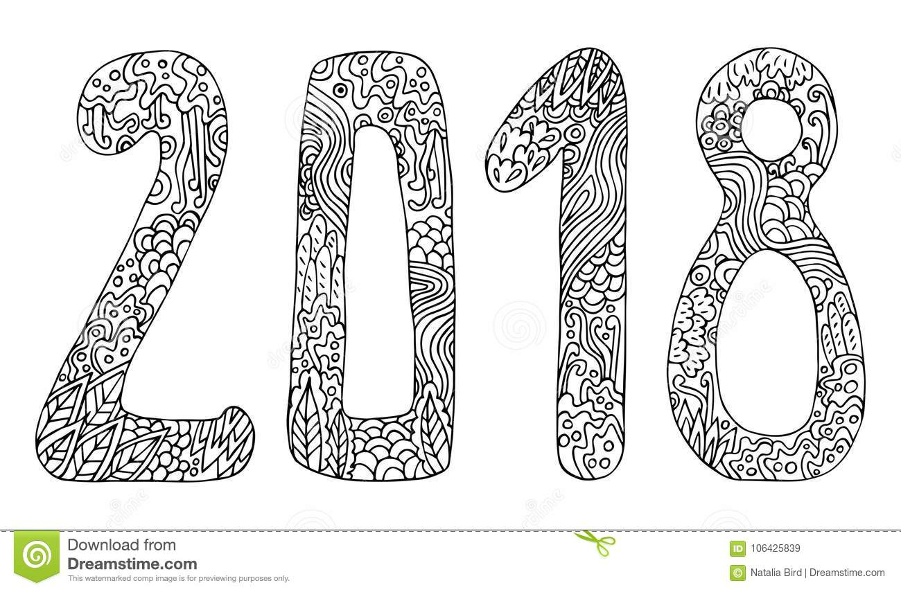 Download New Year Vector Cute Doodles Hand Drawn Sign Cartoon Style With Numbers 2018 On Winter