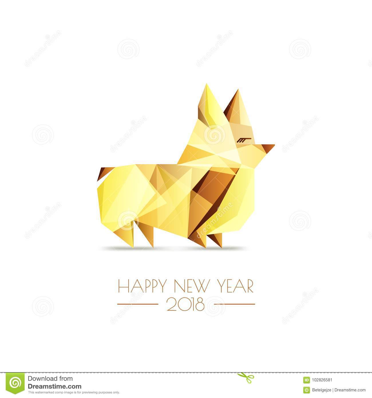 Corgi stock illustrations 1298 corgi stock illustrations vectors new year 2018 vector greeting card poster banner with golden luxury low poly buycottarizona Gallery