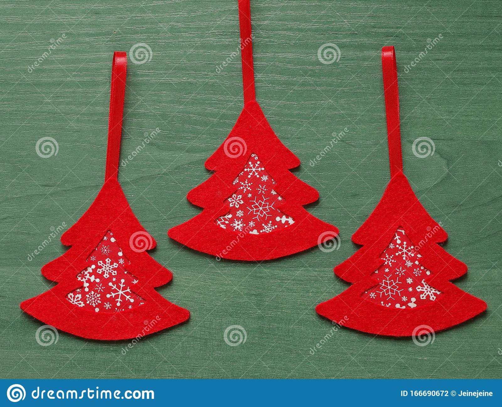 White Wooden Christmas Tree With Felt Decor On A Green Background Stock Photo Image Of White Green 166690672