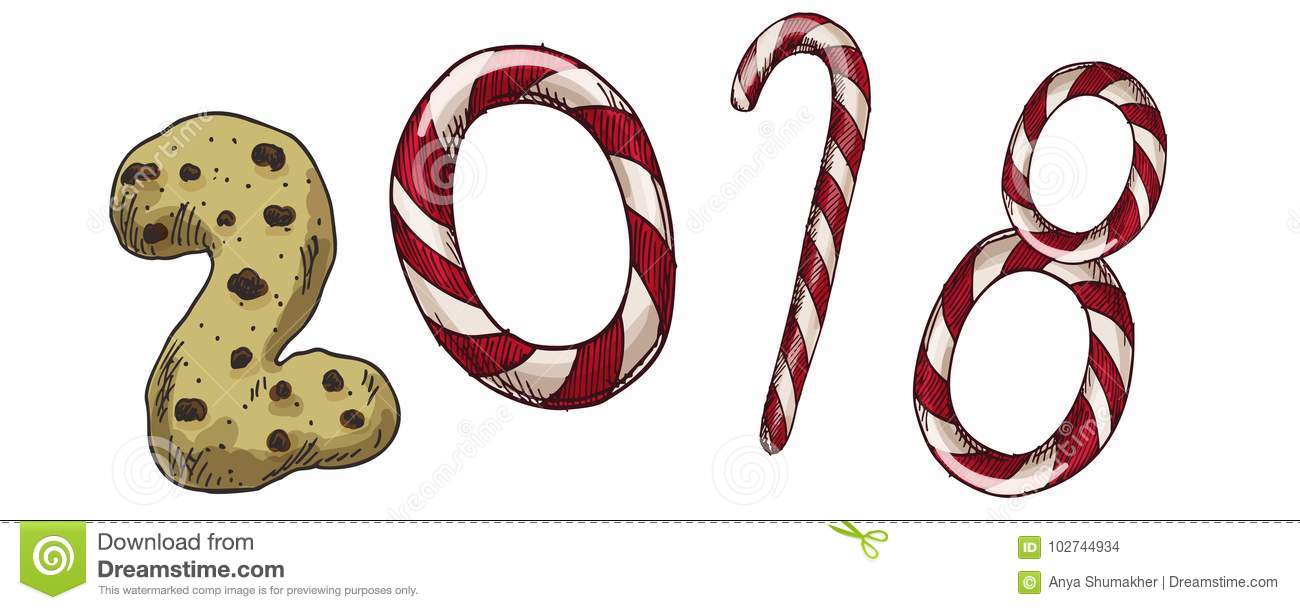 new year 2018 winter card with candies and biscuit vector image for new years