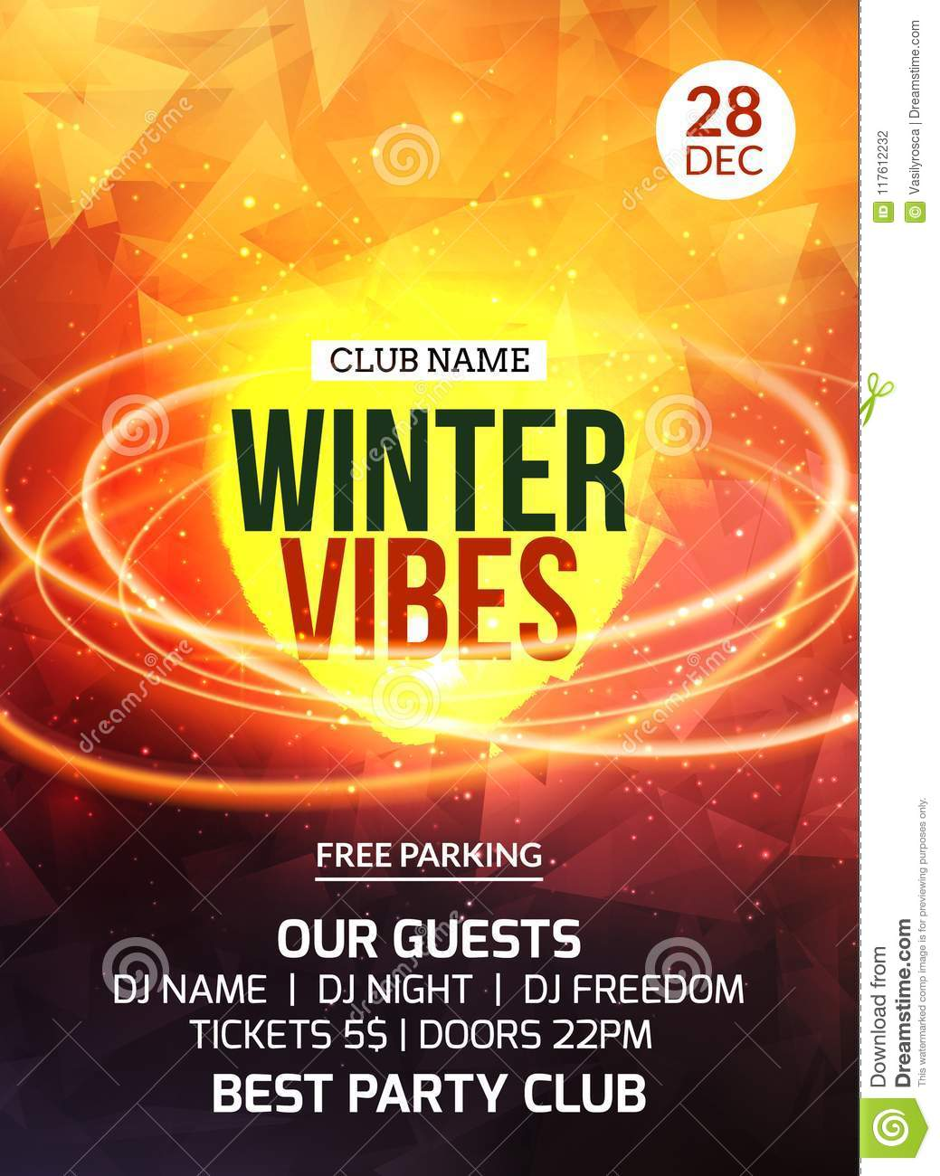 2018 new year winter party celebration flyer design template holiday invitation party poster card for music event in night club