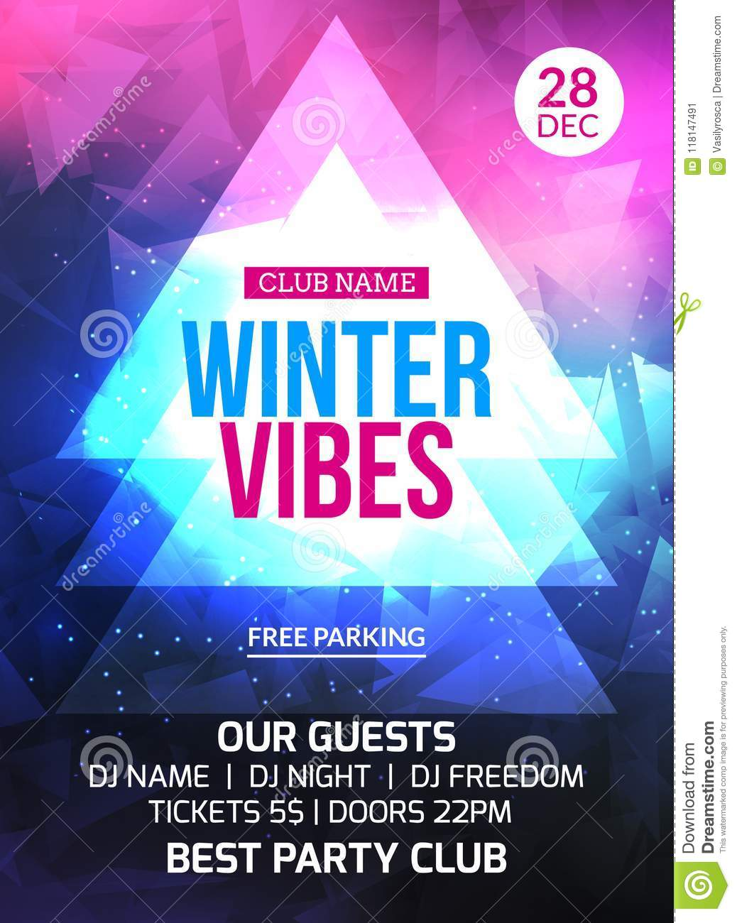 2018 new year winter party celebration flyer design template holiday invitation party poster card for