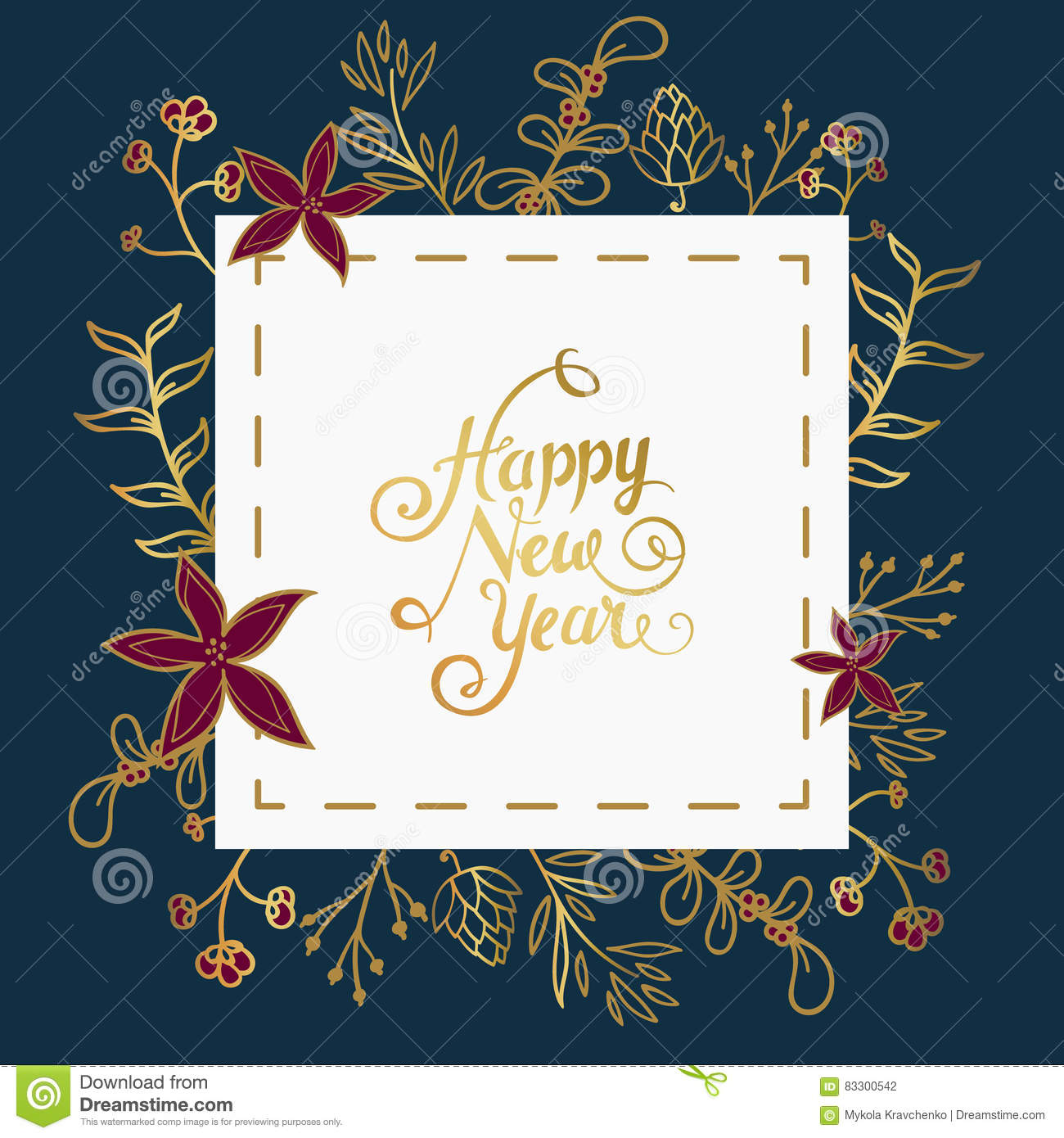 new year wishes in white square over dark blue background with christmas ornament