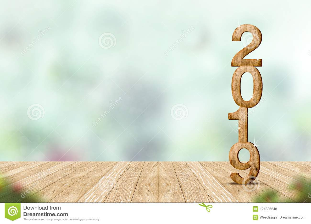 New year 2019 wood number 3d rendering on wooden plank table a