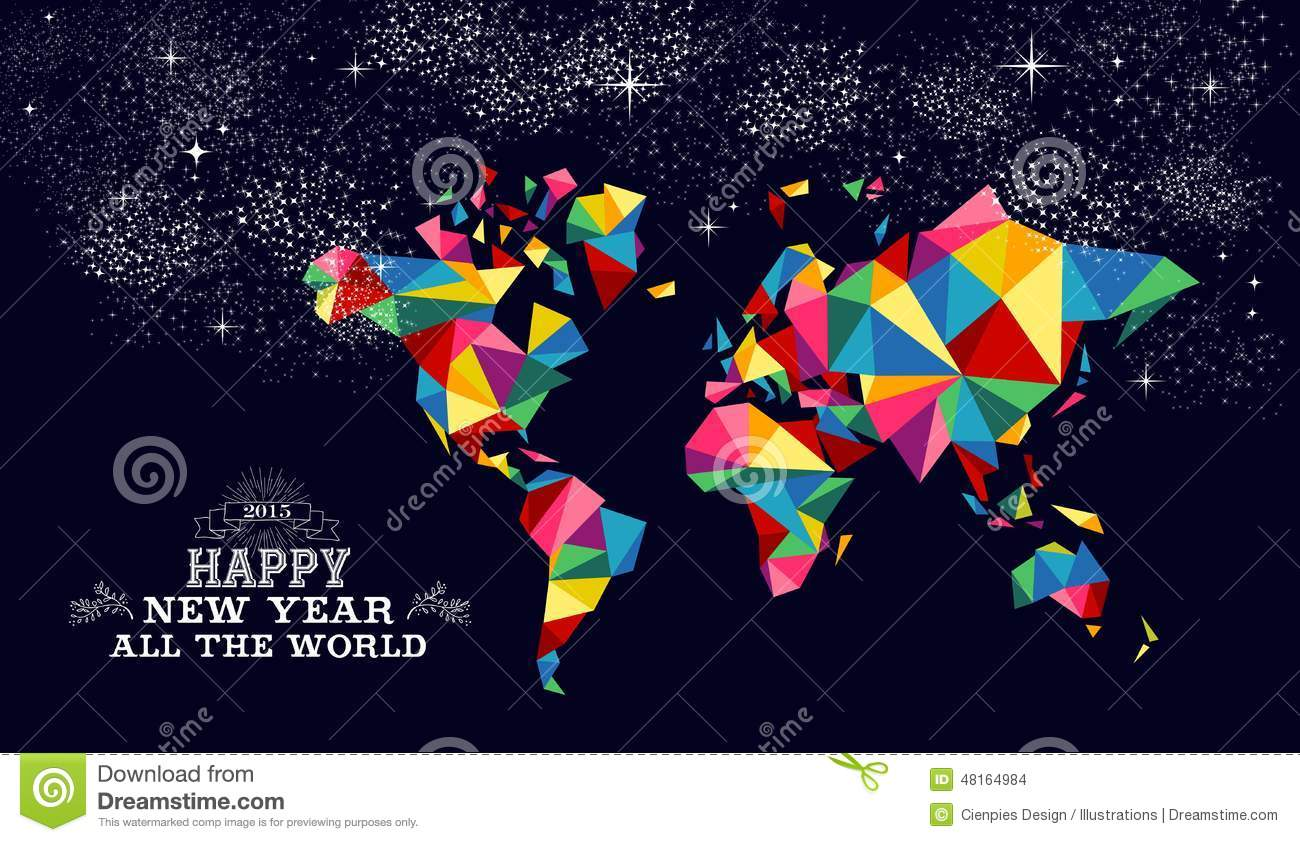 New year 2015 world map card stock vector illustration 48164984 new year 2015 world map card gumiabroncs Choice Image