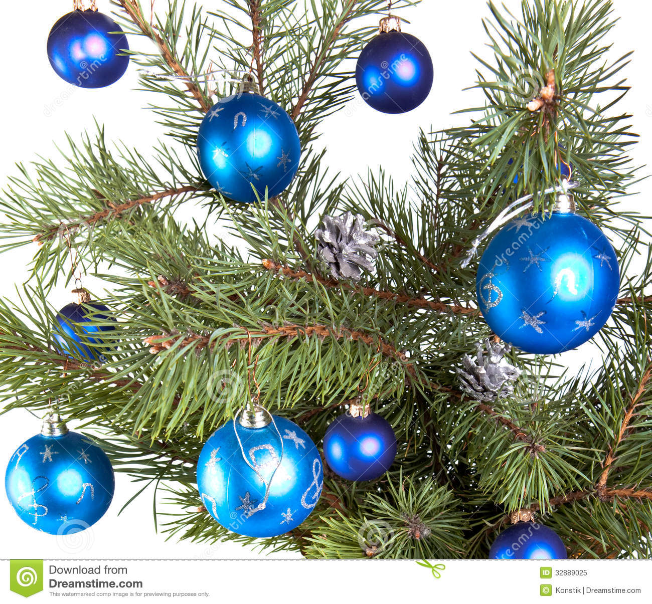 New years balls on branches of a christmas tree stock