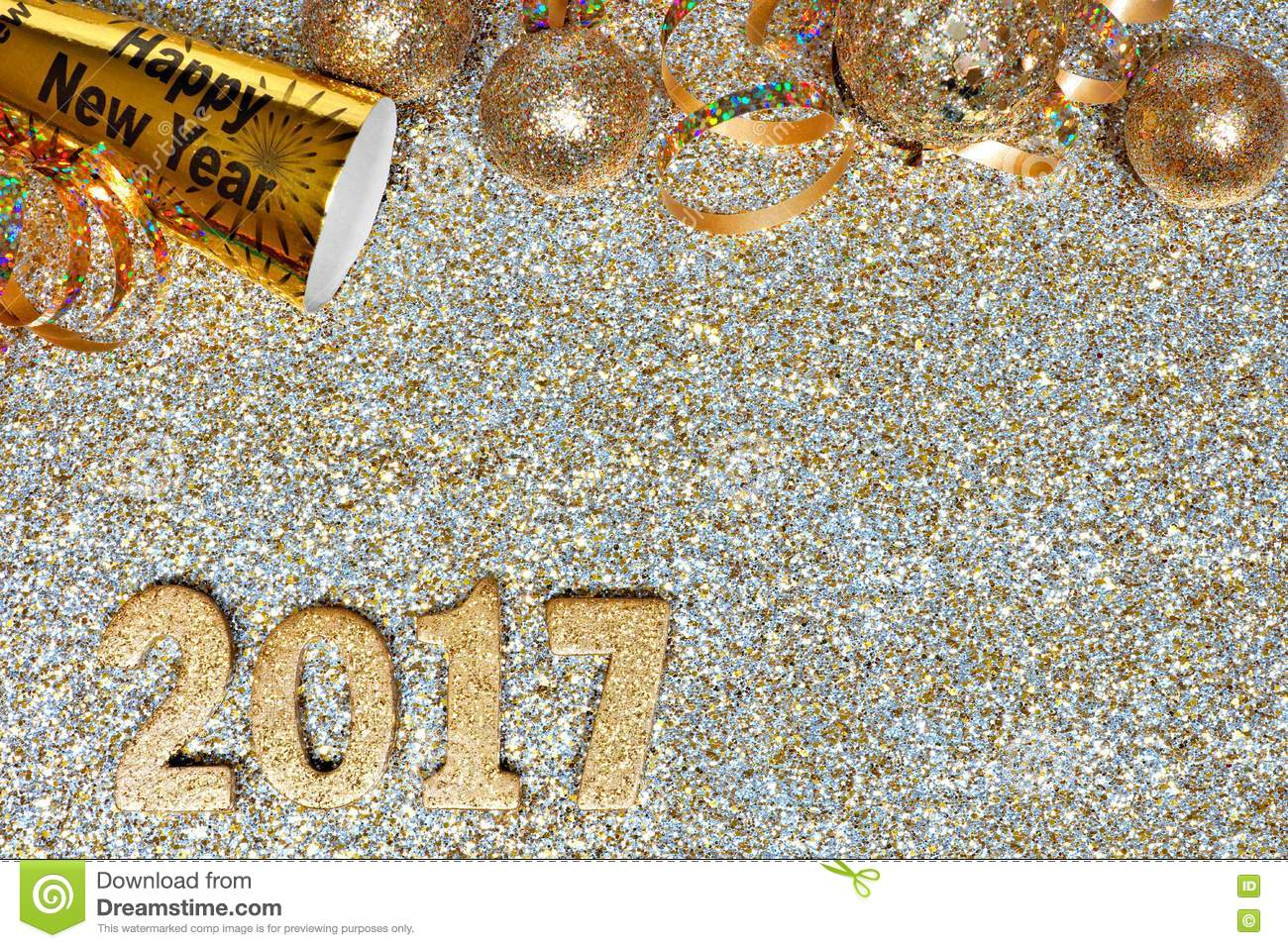 new years eve border with 2017 numbers on gold background