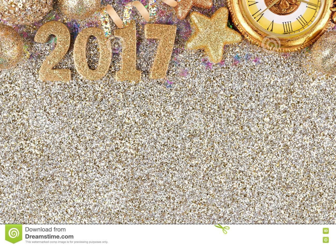 new years eve 2017 border over a glittery background