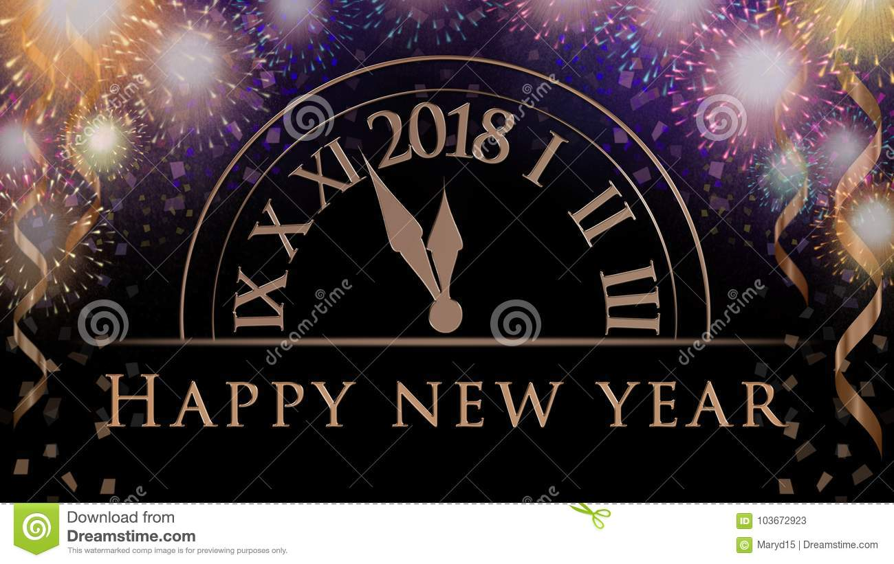new years eve celebration background with colorful party fireworks clock with 2018 text