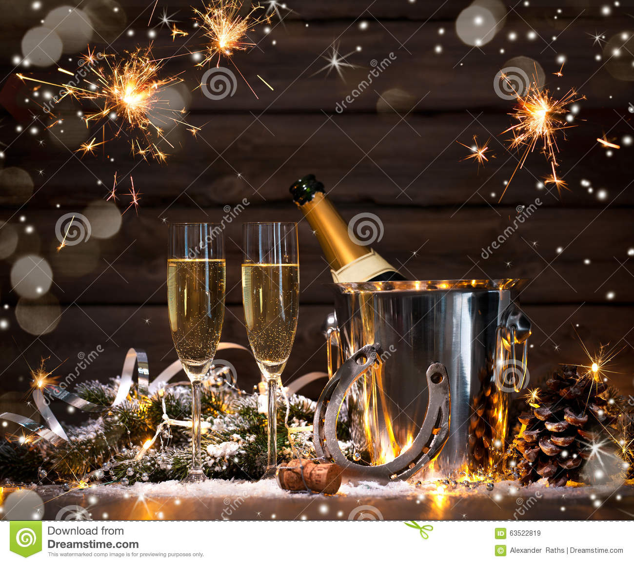 New Years Eve celebration background with pair of flutes and bottle of ...