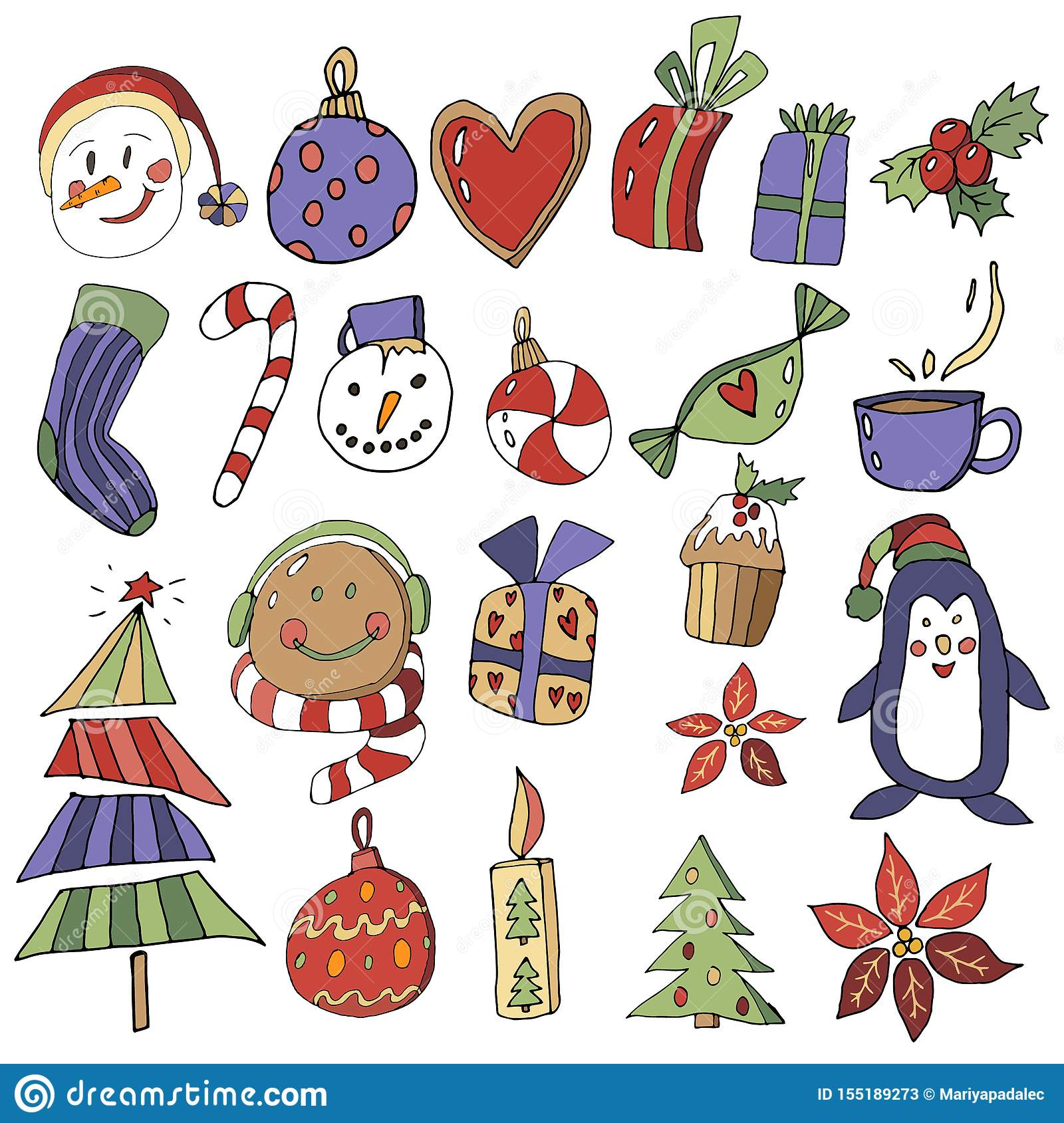 new years eve clipart christmas set with cartoon new year characters collection of xmas elements for greeting card design in stock illustration illustration of merry tree 155189273 dreamstime com