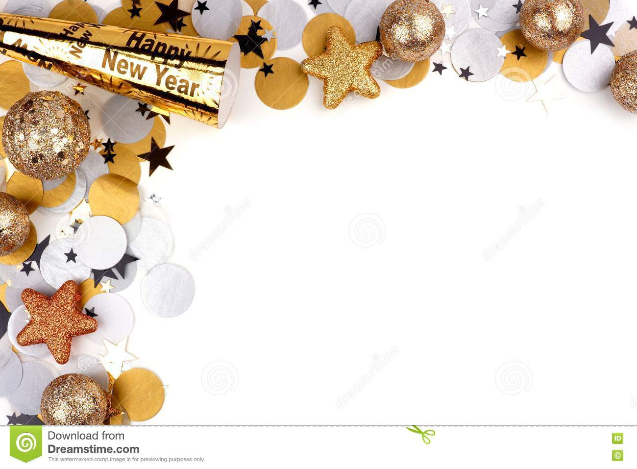 new years eve corner border of confetti and decor over white new years eve corner