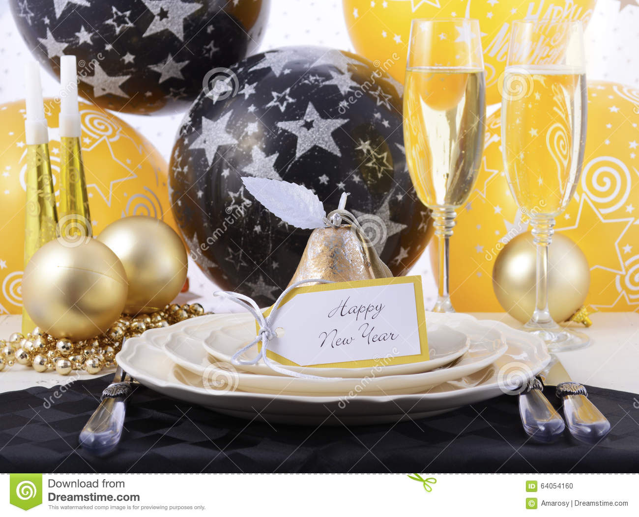 New years eve dinner table place setting stock photo - New year dinner table setting ...