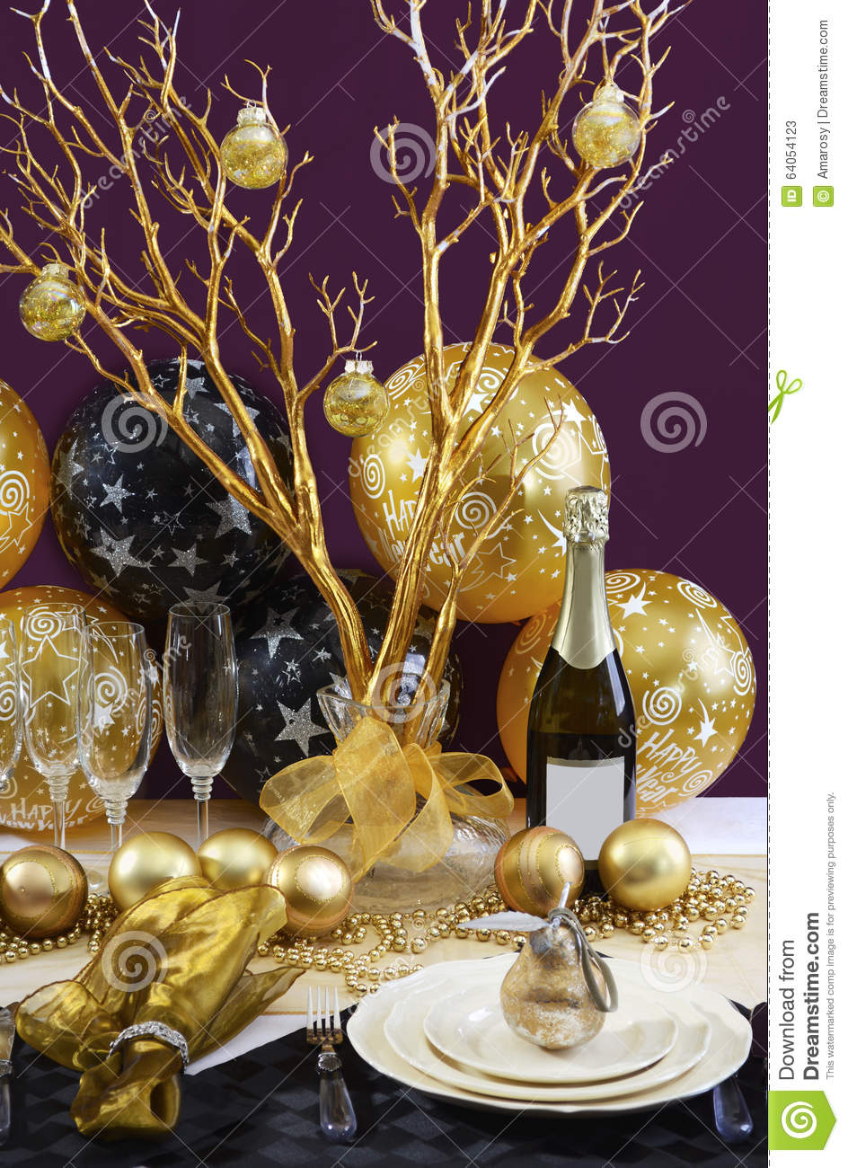 Royalty-Free Stock Photo & New Years Eve Dinner Table Setting. Stock Image - Image of bright ...