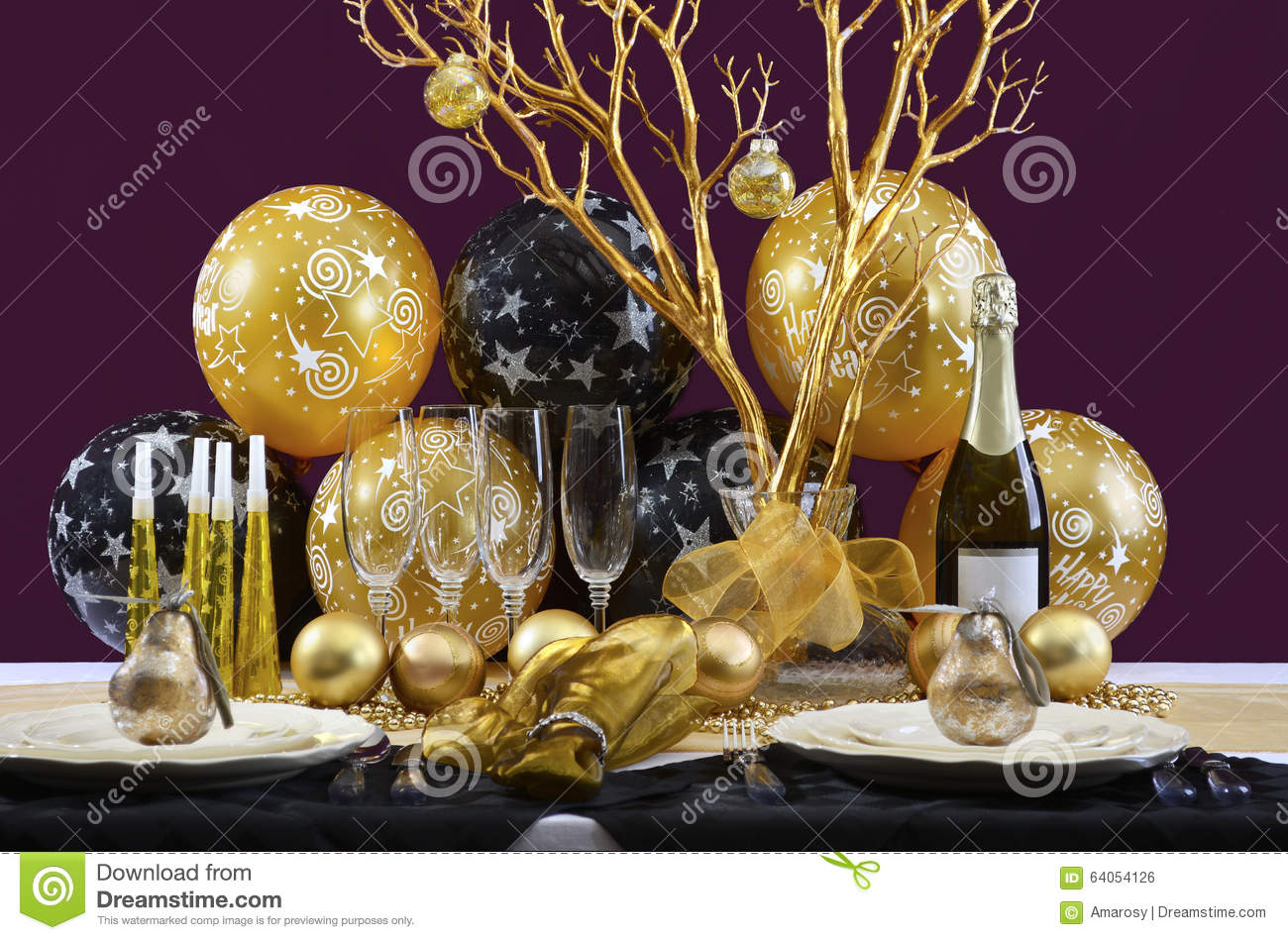 New years eve dinner table place setting royalty free