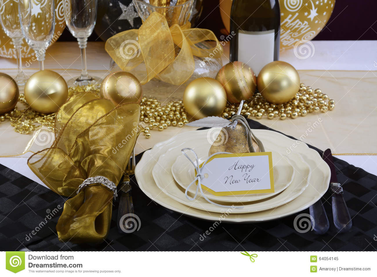New Years Eve Dinner Table Setting. Stock Image - Image of 2018 ...