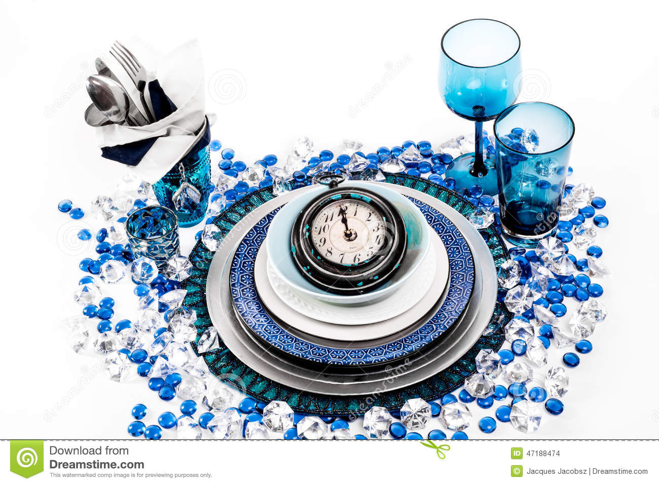 New Years Eve Dinner Table Place Setting. Royalty-Free ...