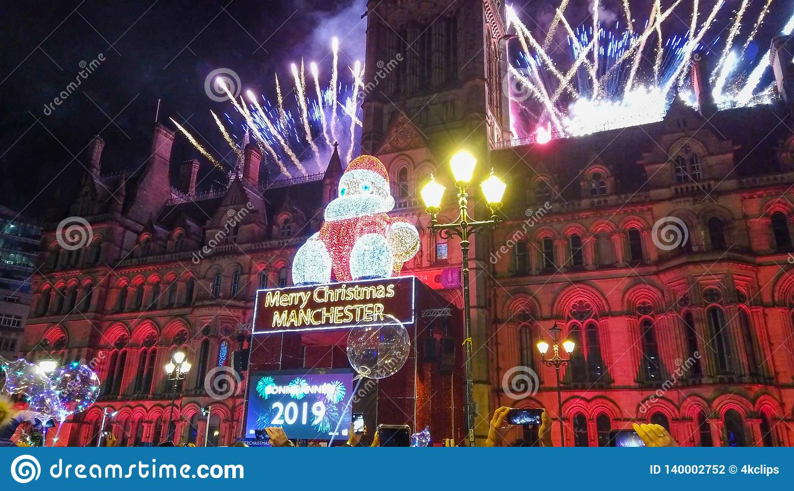 New Years Eve Fireworks At Manchester Town Hall ...