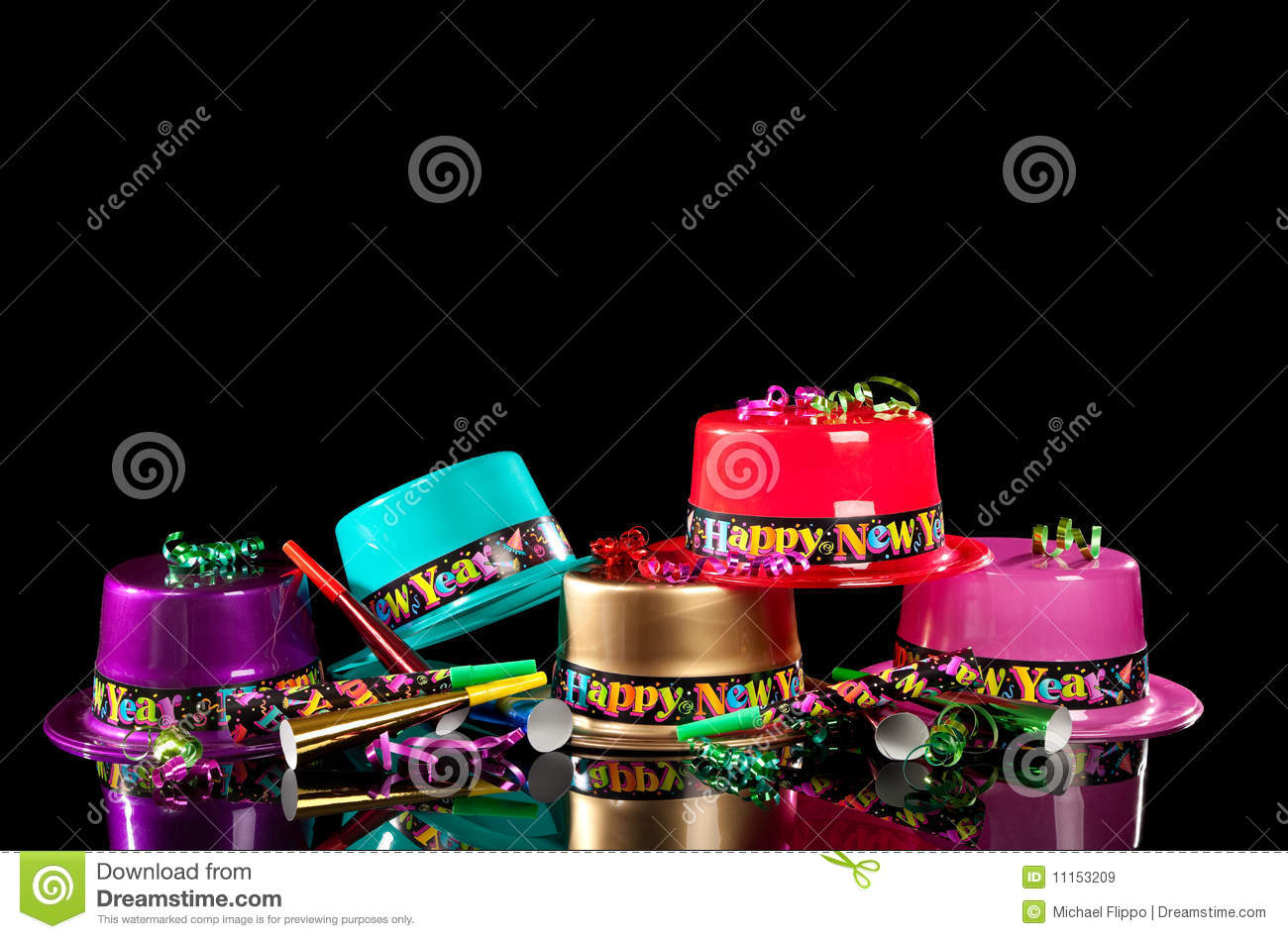 New Years\' Eve Party Hats On Black Background Stock Image - Image of ...