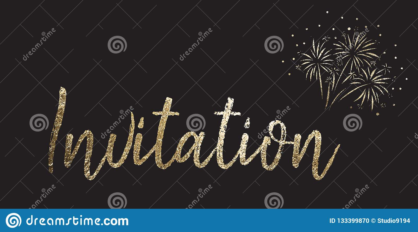 New Years Eve party invitation. Invitation Gold foil vector lettering on black background with firework. Use for elegant