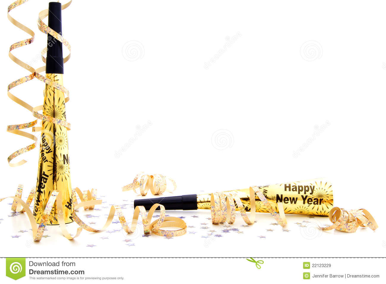 New Years Eve Party Noisemaker Border Stock Image Image Of Border