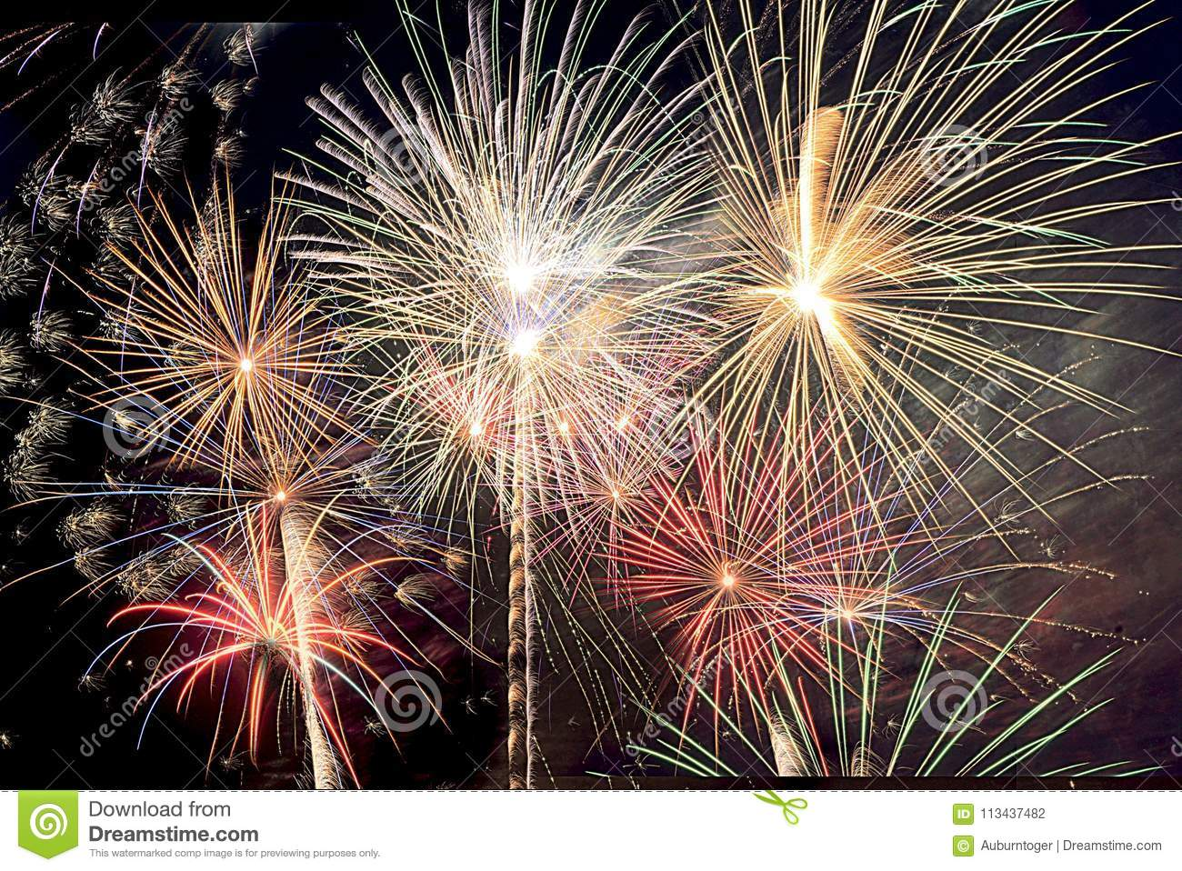 New Year`s Eve and Fourth of July Fireworks in South Florida cover the night sky with bursts of vibrant colors.