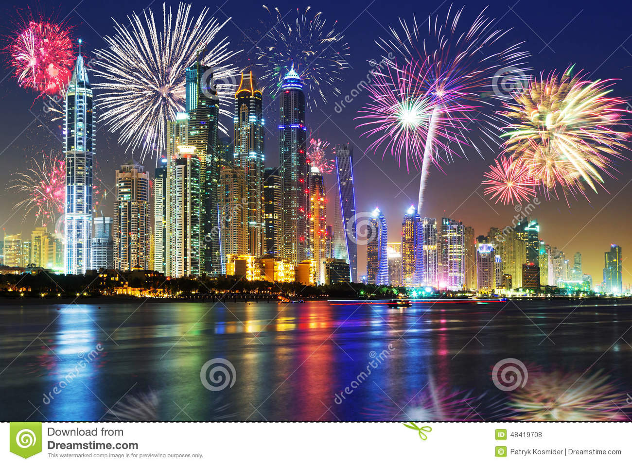 New Years fireworks display in Dubai