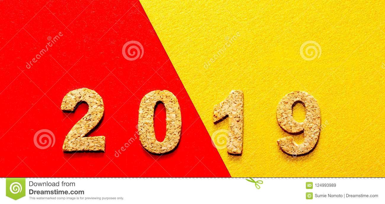 new years resolution 2019 concept  cork year number on red