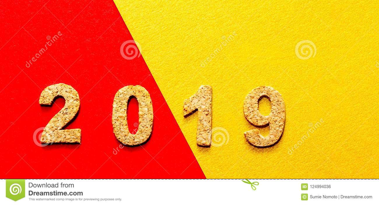 New years resolution 2019 concept cork year number on red with gold color background with copy - New years colors 2019 ...