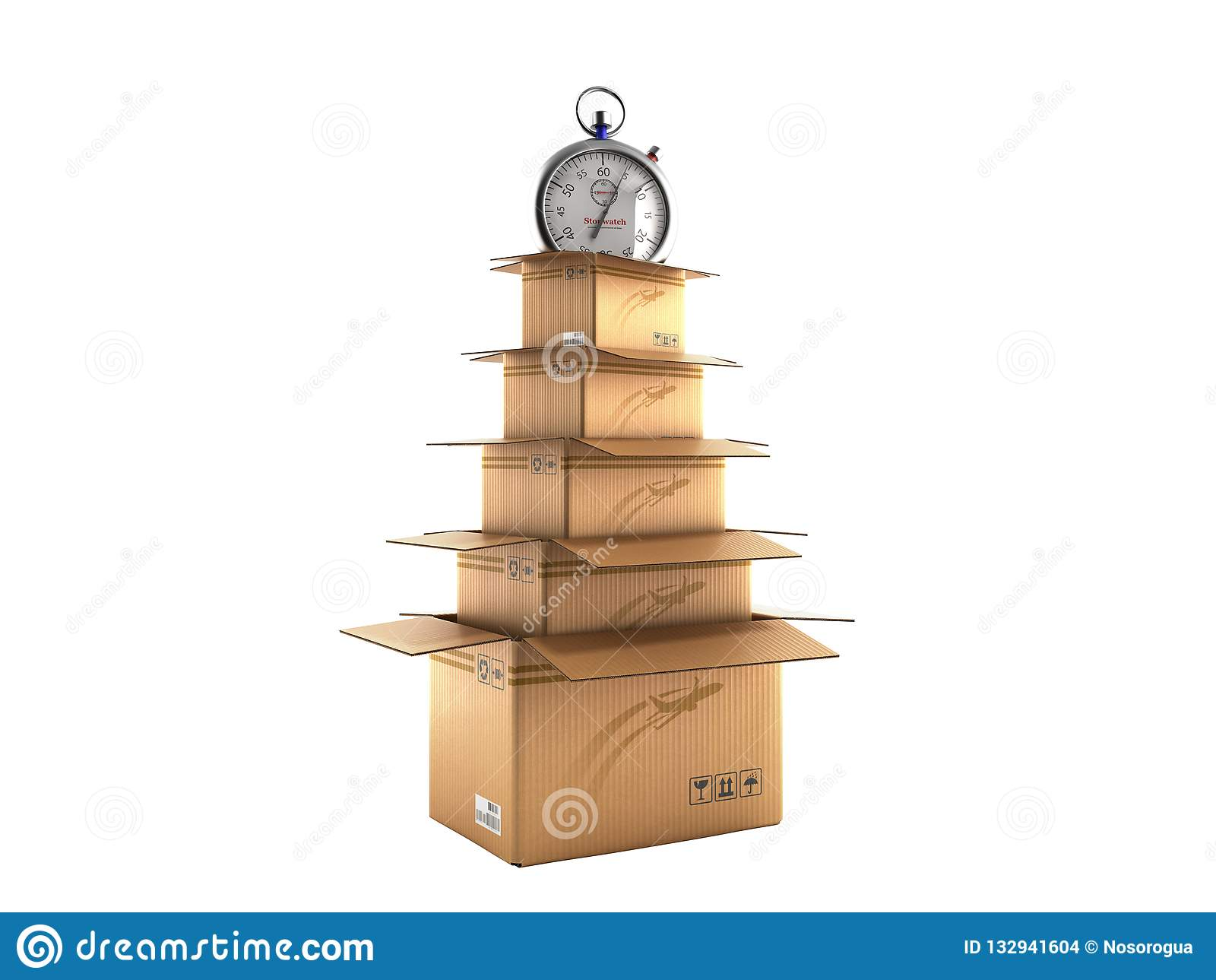 New Years Shipping Concept Cardboard Boxes In The Shape Of A
