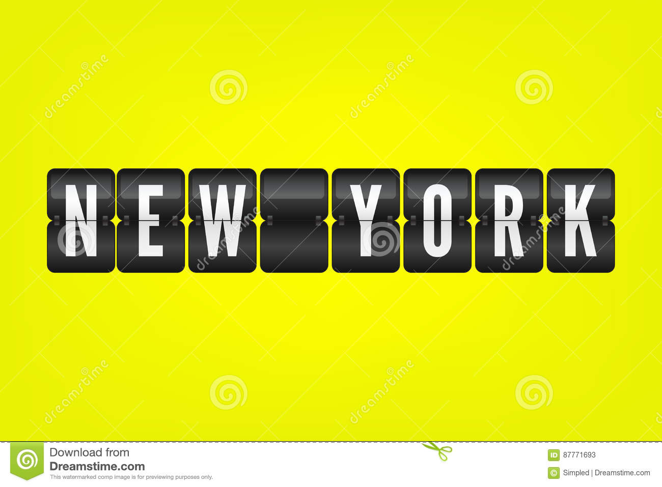 03cdd4a6 New York american city flip symbol. Vector scoreboard illustration. Black  and white airport sign