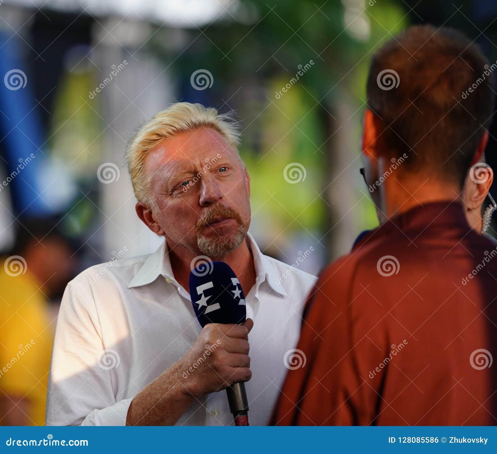 Eurosport analyst Grand Slam Champion Boris Becker conducts interview during 2018 US Open