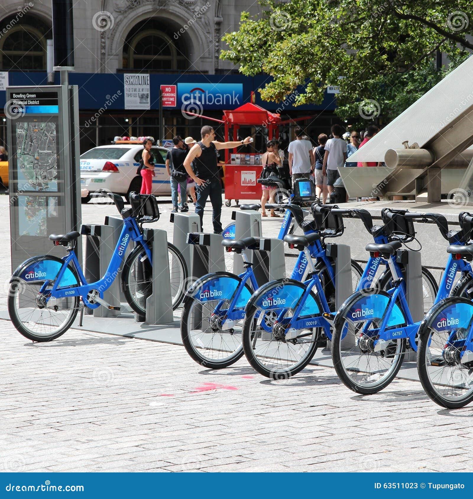 New York Rental: New York Bicycle Rental Editorial Stock Photo