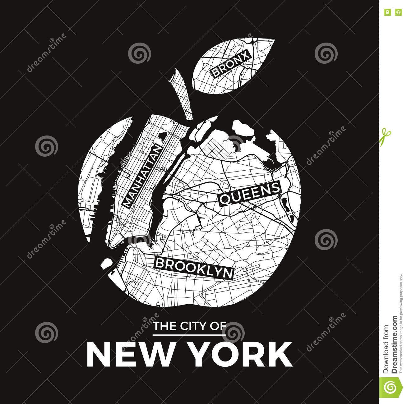 New York Big Apple T Shirt Graphic Design With City Map