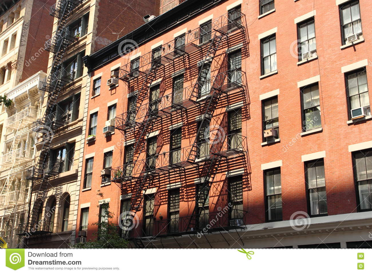 New York Brick Buildings With Outside Fire Escape Stairs Stock