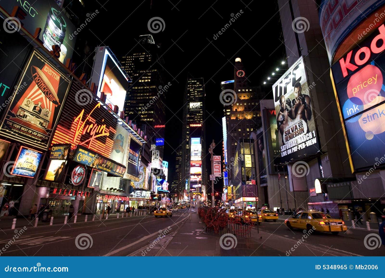 New York Broadway At Night Editorial Image Image 5348965