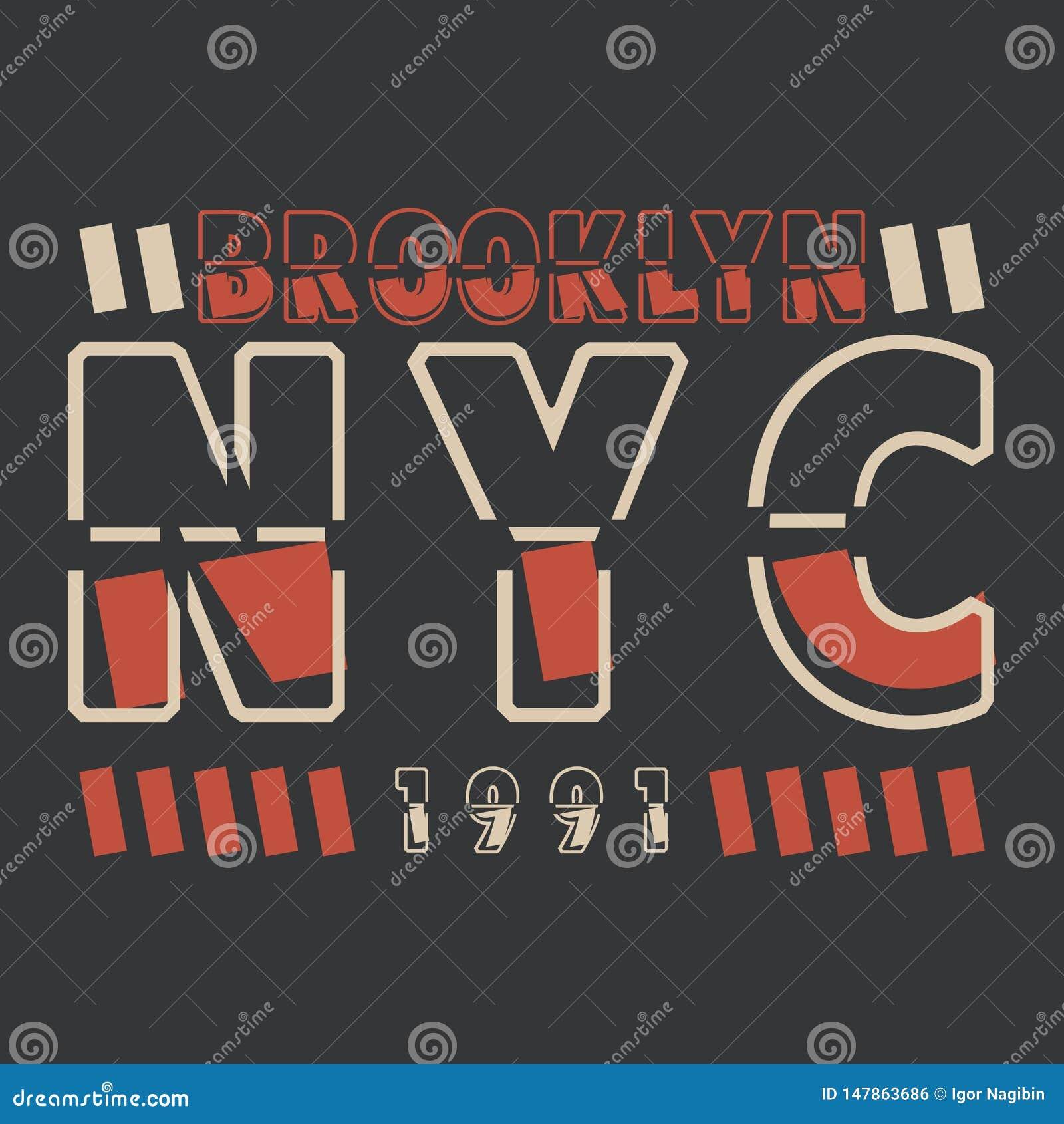 New York, Brooklyn Beschaffung f?r das Design eines T-Shirts, Fahne, Plakat und so weiter