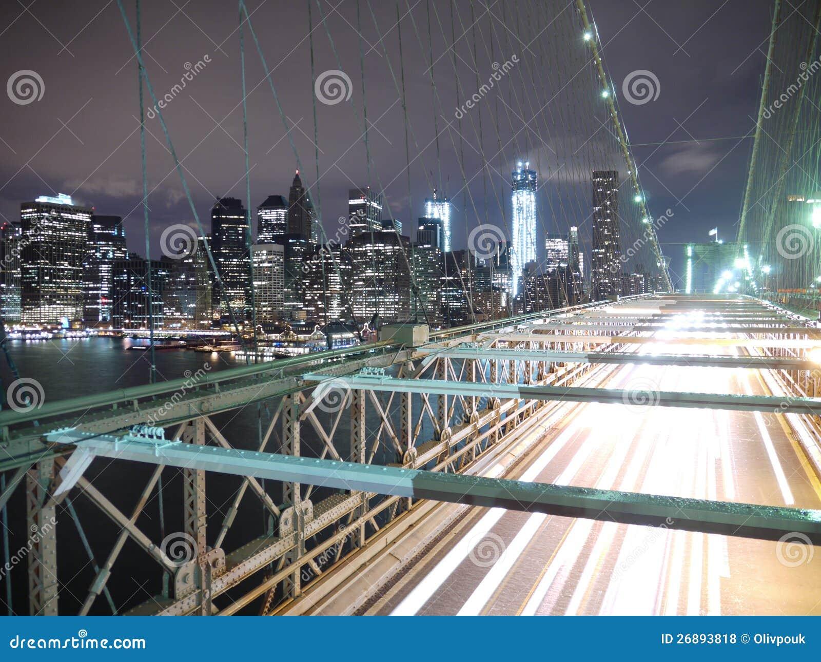New York Brooklyn Bridge At Night Stock Photo Image Of Landscape