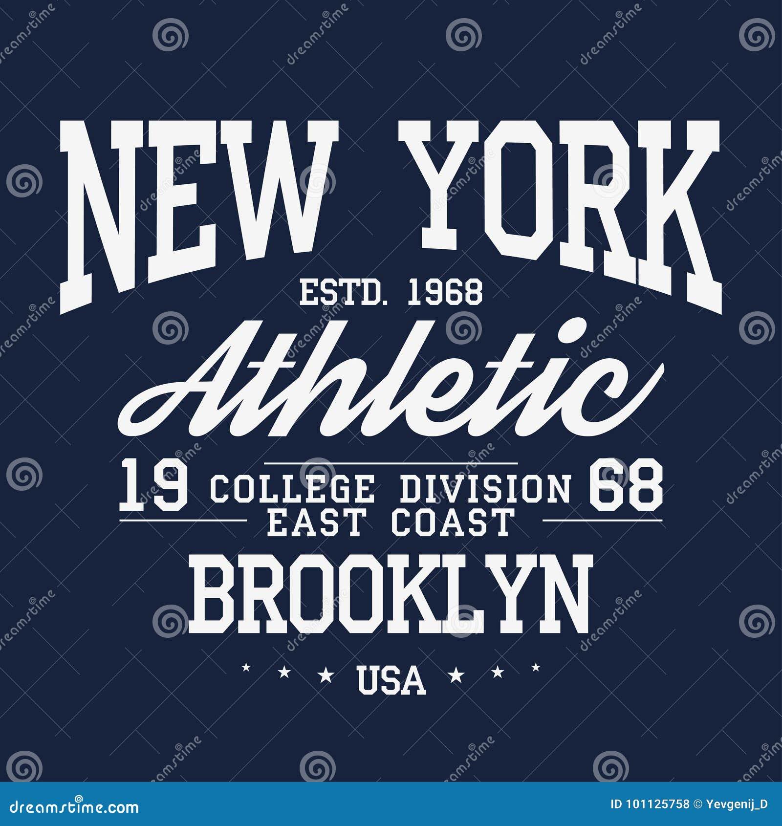 New York Brooklyn typografi, emblem för t-skjorta tryck Universitets- stilt-skjorta diagram