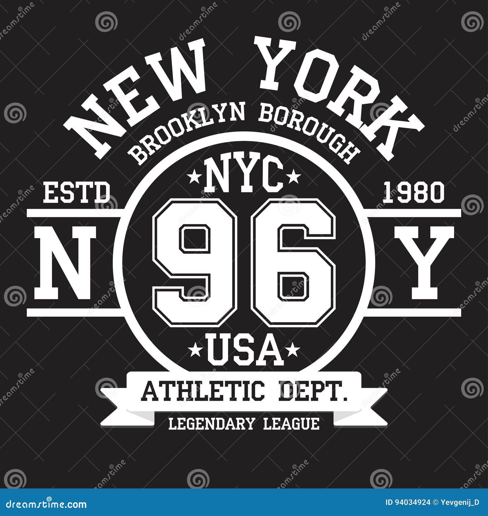 New York Brooklyn typografi för t-skjorta tryck Sportar idrotts- t-skjorta diagram