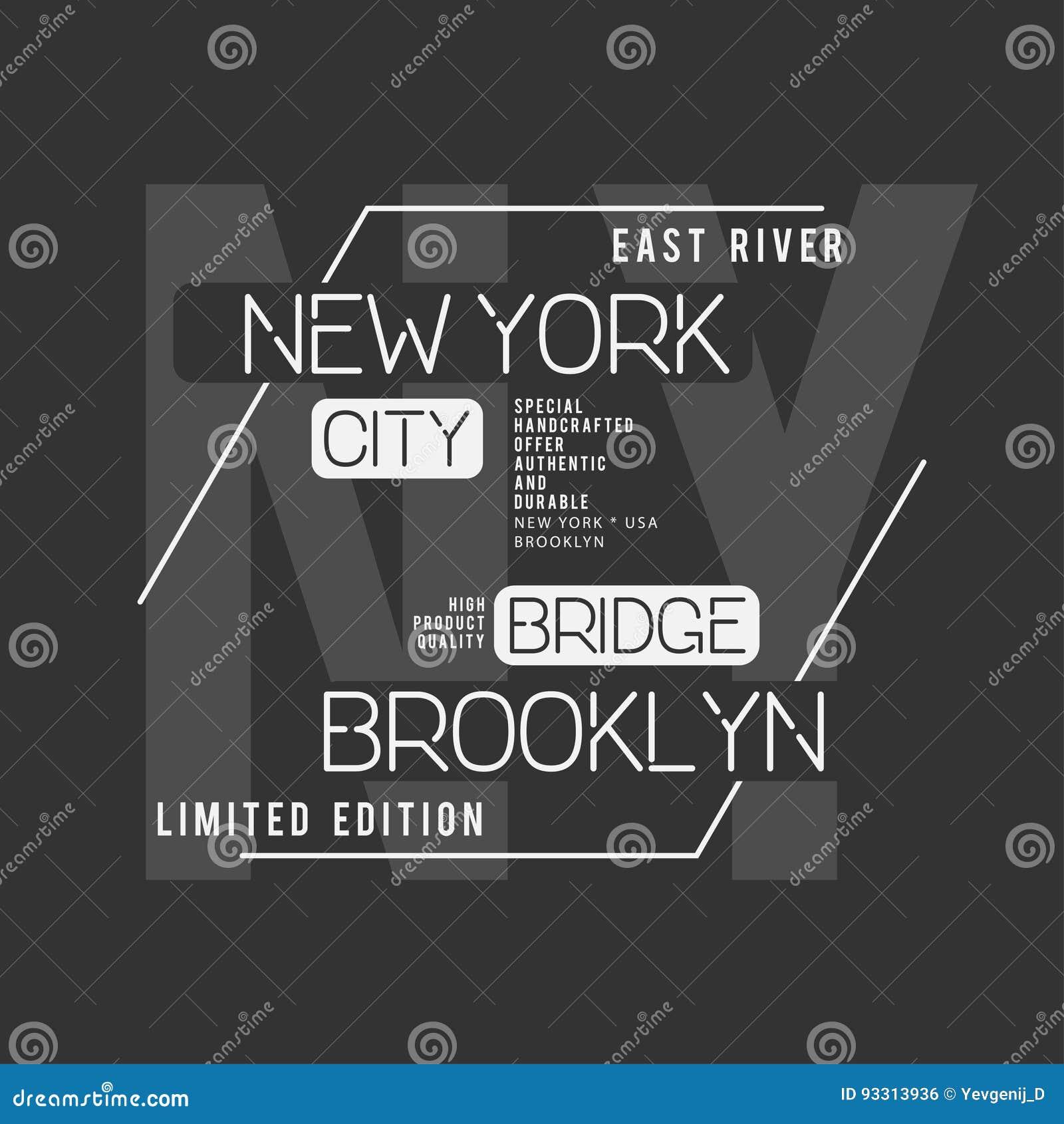 New York Brooklyn typografi T-tröjadiagram